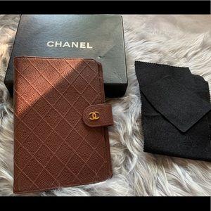 Vintage Chanel Agenda  Caviar Leather Cover